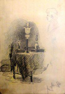 Интерьер. 1909. Лист из походного альбома Я.Я. Зальцмана. Графитный карандаш.