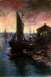 Ночная гавань. 1909. Лист из походного альбома Я.Я. Зальцмана. Пастель.