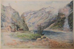 Река в горах. 1910-е. Бум., акварель.