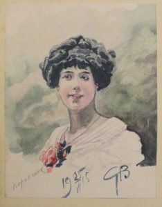 Портрет девушки. 1915. Бум., акварель.