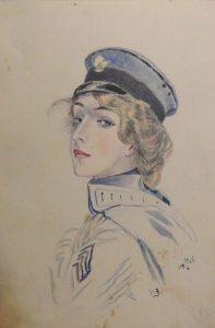 Девушка в фуражке. 1915. Бум., пастель.