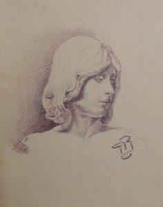 Учебный рисунок. 1915. Бум., сангина.