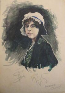Женский портрет. 1915. Бум., акварель.