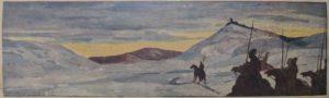Войско в горах. 1915. Бум., акварель.