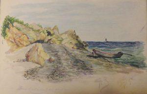 Лодка на морском берегу. 1915. Бум., акварель.