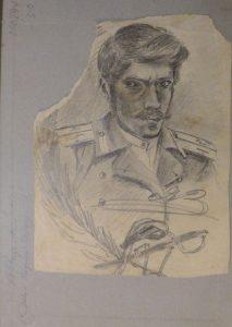 Портрет сослуживца. 1915. Бум., графитный карандаш.