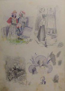 Сцены из русских сказок и художница перед мольбертом. 1899. Лист из походного альбома Я.Я. Зальцмана. Графитный карандаш, пастель.