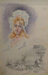 Мадемуазель Люси. 1899. Лист из походного альбома Я.Я. Зальцмана. Графитный карандаш, пастель.