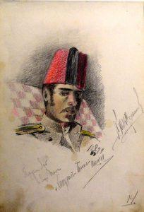 Портрет сослуживца в феске. Из походного альбома Я.Я. Зальцмана.1899. Графитный карандаш.