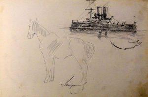 Военный корабль и лошадь. 1899. Из походного альбома Я.Я. Зальцмана. Графитный карандаш.