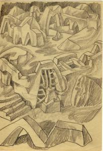 Лабиринт. 1950-е. Б., графитный кар. На обороте скальная лестница. 21х14,5.