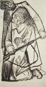 """Soldiers. """"Perelom"""" magazine. 1932. Paper, ink, pen. 17,5x9."""