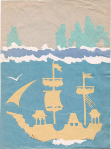 Sailboat. The end of 1960s-early 1970s. Color paper, color cardboard, glue.