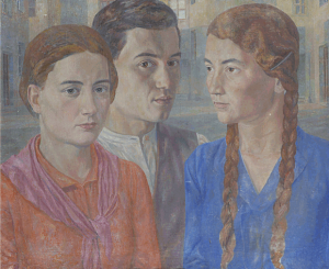 Group with selfportrait. 1937. Oil, canvas, 55х65.